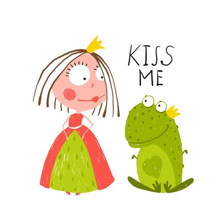 Baby Princess and Frog Asking for Kiss. Kids love story cute and fun colored illustration. Vectores
