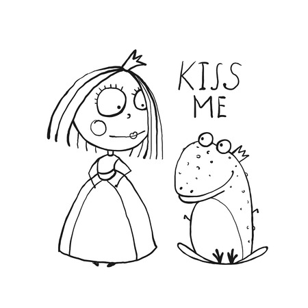 love story: Baby Princess and Frog Asking for Kiss Coloring Page. Kids love story cute and fun outline illustration for coloring book.