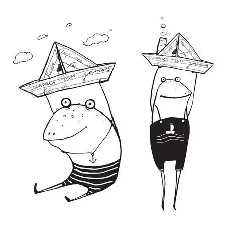 the frog: Barcos de vela de la rana de papel Juguete Outline Dibujo. Diversión mano infantil elaborado tinta un color de contorno ilustración para niños.
