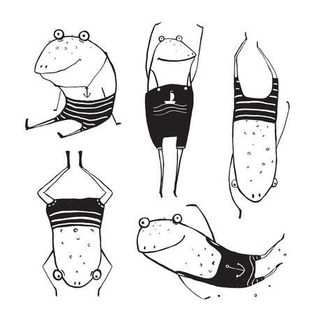 grenouille: Collection Été grenouilles piscine Dessin. Main enfantine Fun attirée encre une couleur aperçu illustration pour enfants.