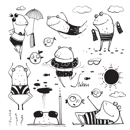 Frogs Summer Swimming Drawing Collection. Fun childish hand drawn inky one color outline illustration for kids.