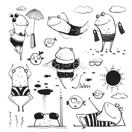 rana: Colección de dibujo Ranas Verano de Natación. Diversión mano infantil elaborado tinta un color de contorno ilustración para niños. Vectores