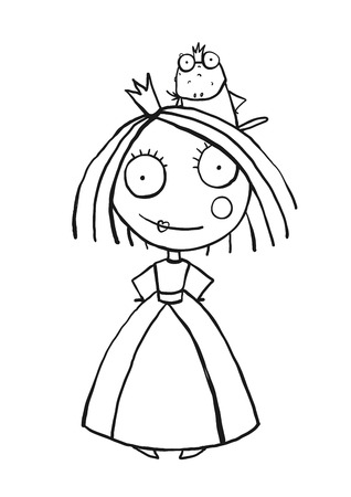 Princess and Prince Frog Portrait Coloring Page. Fun childish hand drawn outline illustration for kids fairy tale.