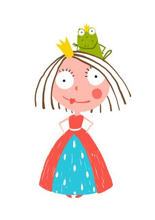 Little Princess zich met prins Kikker Zittend op Head. Kleurrijke plezier kinderachtig hand getrokken illustratie voor kinderen sprookje.