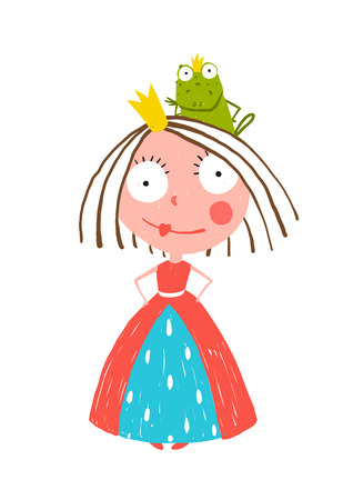 Little Princess Standing with Prince Frog Sitting on Head. Colorful fun childish hand drawn illustration for kids fairy tale. Vectores