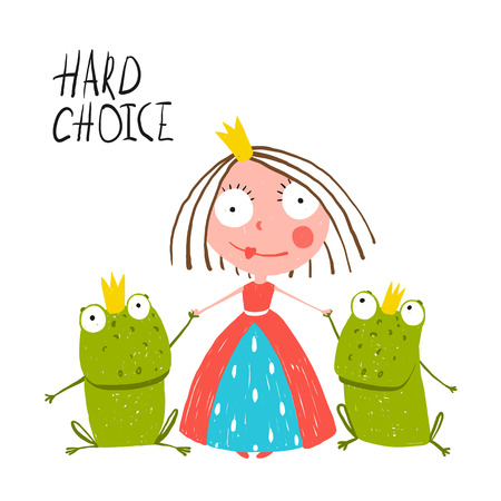 Princess Making Choice between Two Prince Frogs. Colorful fun childish hand drawn illustration for kids fairy tale.