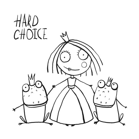 choices: Princess Making Choice between Two Prince Frogs Coloring Page. Fun childish hand drawn outline illustration for kids fairy tale. Illustration