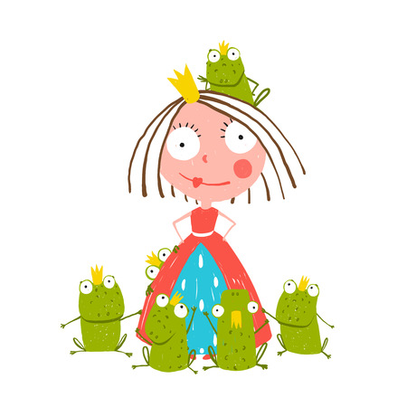 Princess and Many Prince Frogs Portrait Colored Drawing. Colorful fun childish hand drawn illustration for kids fairy tale.