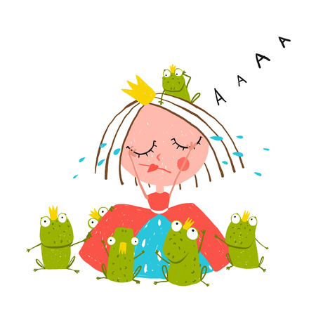 fairytale character: Princess Crying and Many Prince Frogs Colored Drawing. Colorful fun childish hand drawn outline illustration for kids fairy tale.