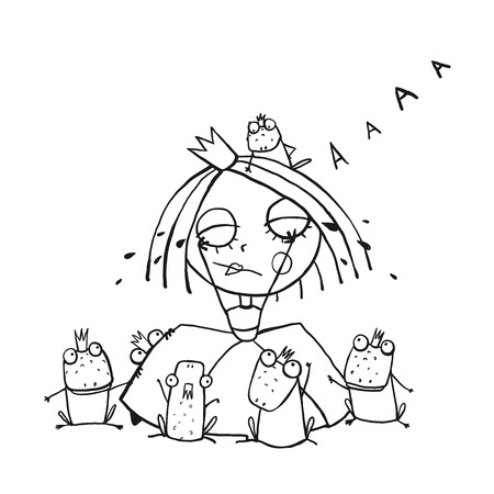 little princess: Princess Crying and Many Prince Frogs Coloring Page Outline Drawing. Fun childish hand drawn outline illustration for kids fairy tale.