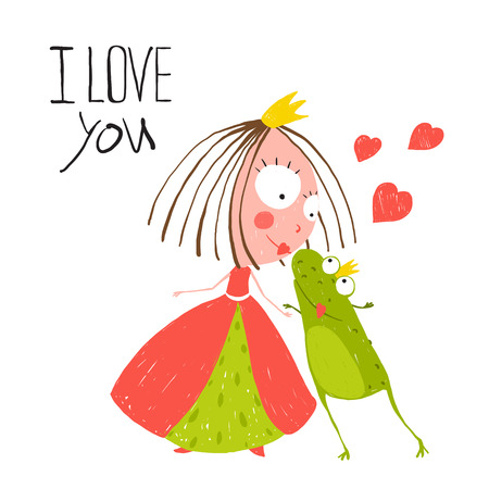 cartoon kiss: Baby Princess and Prince Frog Kissing. Kids love story cute and fun hand drawn colored illustration.