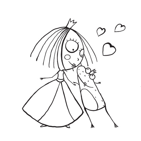 frog in love: Baby Princess and Prince Frog Kissing Coloring Page. Kids love story cute and fun hand drawn outline illustration.