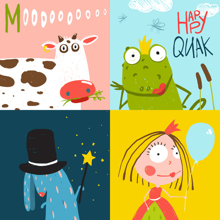 Colorful Fun Cartoon Hand Drawn Animals Greeting Cards for Kids  イラスト・ベクター素材