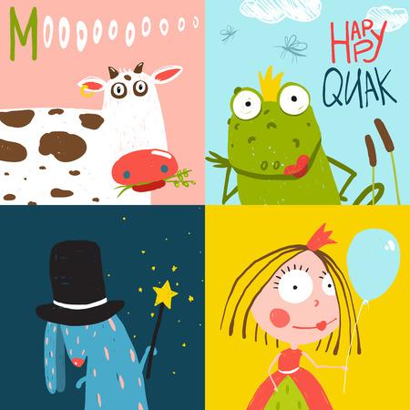 Colorful Fun Cartoon Hand Drawn Animals Greeting Cards for Kids 일러스트