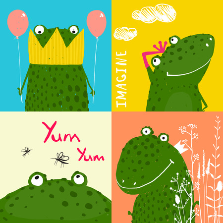 Colorful Fun Cartoon Frogs Animals Greeting Cards for Kids