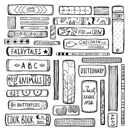 Books Collection Monochrome Inky Outline Illustration Vettoriali