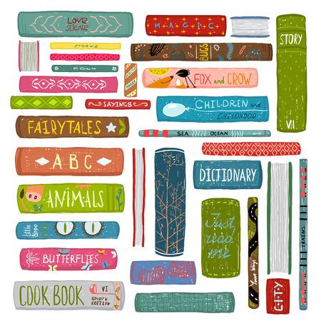 biblioteca: Libros Coloridos Dibujo Colección de la Biblioteca Vectores