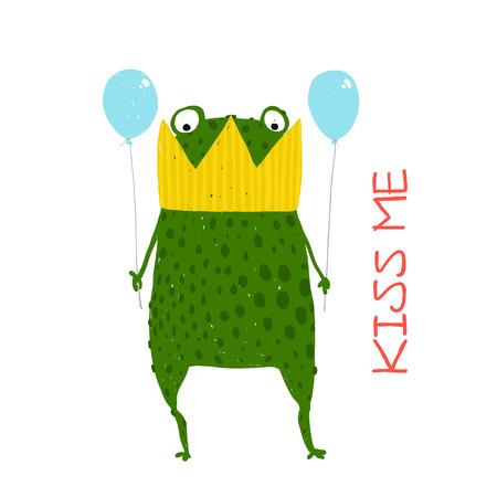 rana principe: Diversión Green Magic Frog Prince consiguió pegado en Corona Vectores