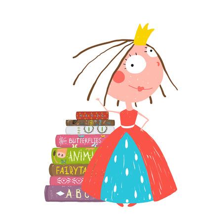 Smart Princess Schönes Mädchen, das Education-Lesebücher Standard-Bild - 41161143