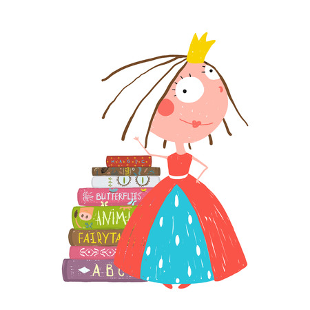 Smart Prinses Mooi meisje krijgt Onderwijs Boeken lezen
