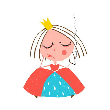 women smoking: Depressed Little Princess Smoking Cigarette Illustration