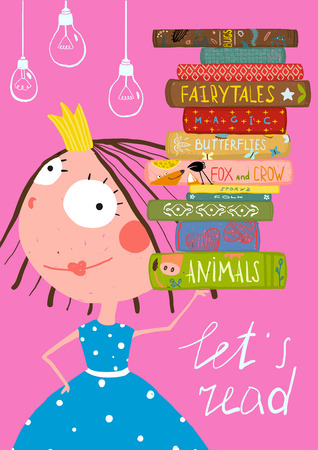 Clever Cute Little Girl Reading Books Poster