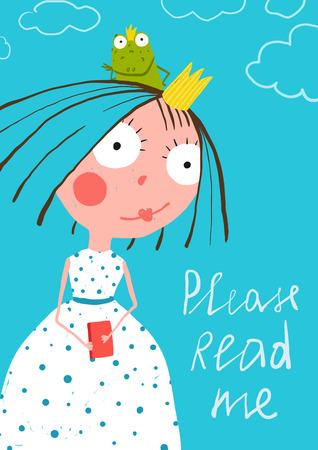 왕자 개구리 읽기 동화 책 포스터와 귀여운 작은 공주