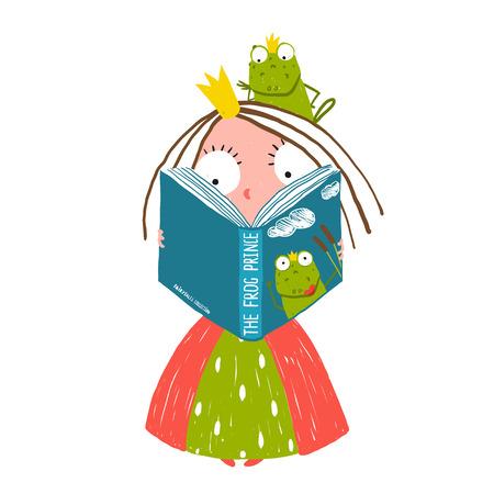 rana principe: Clever Little Princess Lectura del cuento de hadas con el príncipe de la rana que se sienta en la cabeza