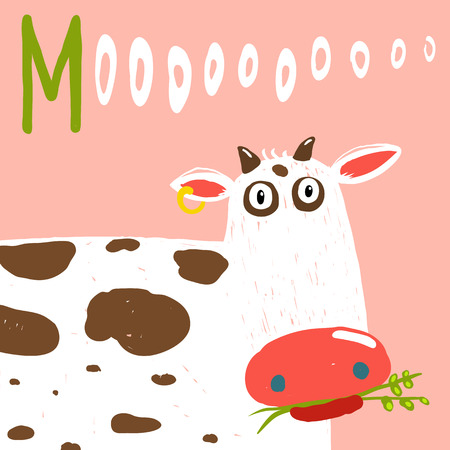fun grass: Curious Stupid Cow Eating Grass with Vacant Look. Fun colorful baby animal illustration of a cattle saying moo.