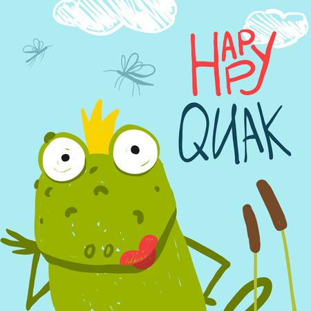 rana caricatura: Diversión rana que se sienta en el pantano con Canes cuento de hadas Diseño. Diseño de la tarjeta de felicitación de dibujos animados shildish estilo primitivo para los niños.