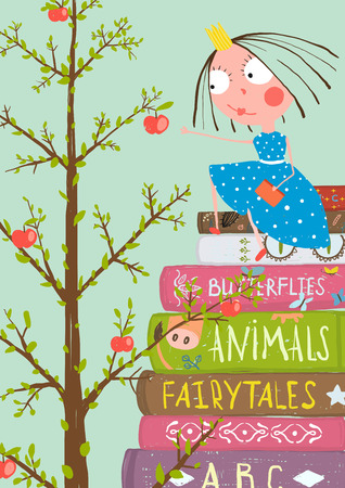 simple girl: Curious Little Girl with Many Books and Apple Tree. Colorful a4 children greeting card illustration about education.