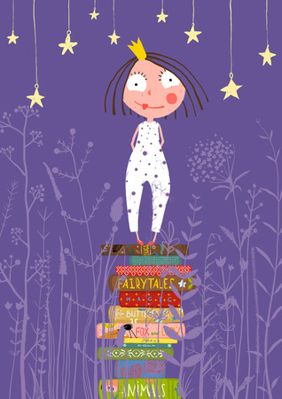 Cute Little Princess Girl Standing on Stack of Books in Pajamas. Child reading fairy tales before going to sleep fairy tale illustration.
