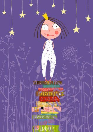 dormir: Linda princesita que se coloca en la pila de libros en pijamas. Niño que lee cuentos de hadas antes de ir a dormir cuento de hadas ilustración.
