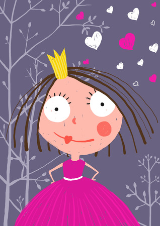 dark forest: Fun and Cute Little Princess in Dark Forest with Love. Colored greeting card for little kids holidays with a curious princess in beautiful dress.