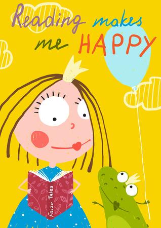 개구리에 호기심 재미있는 어린 소녀 읽기 동화 책. 어린이 휴일 인사말 카드 또는 책 다채로운 그림. 일러스트