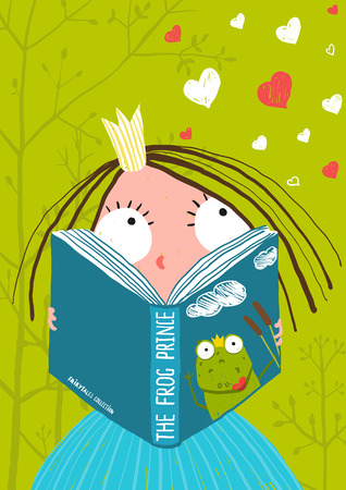 Smart Cute Little Girl Reading Fairy Tale Book . Brightly colored hand drawn illustration for children.