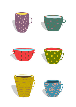 coffee house: Cups and Mugs Ceramics Colorful Fun Set. Hand drawn porcelain ornate dishes collection illustration.  Isolated on white. Transparent shadows.