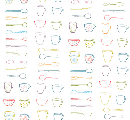 dinnerware: Cups Mugs Silverware Outline Seamless Pattern Background. Hand drawn ornate dishes and dinnerware backdrop illusatration.