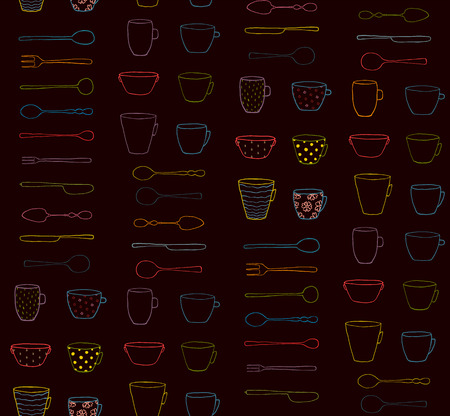 silverware: Cups Mugs Silverware Outline Seamless Pattern Neon on Dark Background. Hand drawn ornate dishes and dinnerware black backdrop illustration. Illustration