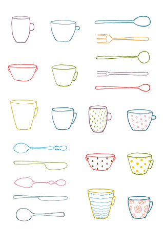 silverware: Cups Mugs Silverware Outline Drawing Design Set. Hand drawn ornate dishes and dinnerware collection illusatration.  Isolated on white. Illustration
