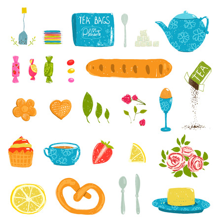 crockery: Tea Drinking Party Pastry and Crockery Set Drawing. Tableware and sweets colorful tea party rustic design elements collection. Isolated on white. Illustration