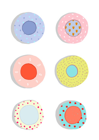 dishes set: Plates and Dishes Ceramics Colorful Fun Set. Hand drawn porcelain ornate plates collection illustration. Isolated on white. Transparent shadows. Illustration