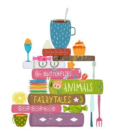 libros: Beber té Comer Pastelería y lectura Libros Ilustración acogedor. Libros de lectura y dulces del té y los libros colorido concepto. Aislado en blanco.
