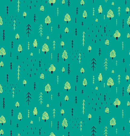 forest wood: Forest Hand Drawn Seamless Pattern Background. Wallpaper tileable wild nature wood drawing background scattered illustration.