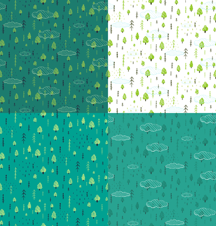 forest wood: Wild Forest Hand Drawn Seamless Pattern Background Set. Wallpaper tileable wild nature wood drawing background scattered illustration.