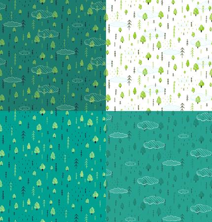 nature pattern: Wild Forest Hand Drawn Seamless Pattern Background Set. Wallpaper tileable wild nature wood drawing background scattered illustration.