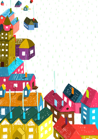 city buildings: Small Town or City with Houses Roofs Landscape. Colorful hand drawn sketchy pencil drawing feel illustration. Small urban scene composition isolated.
