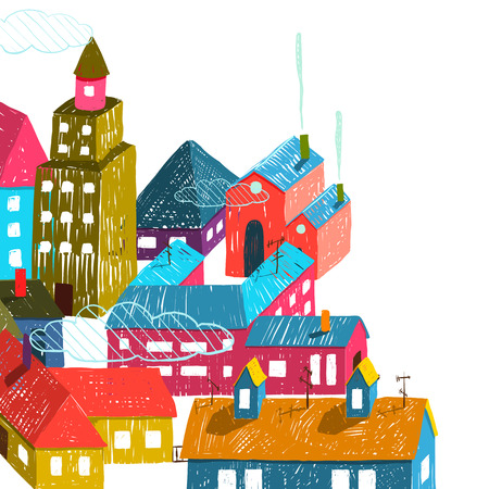 small country town: Small Town or City with Houses Roofs Illustration on White. Colorful hand drawn sketchy pencil drawing feel illustration. Small urban landscape composition isolated. Illustration