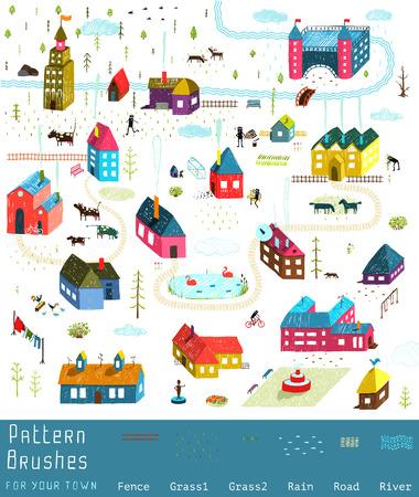 Kleine Stad, Dorp huizen Gebouwen Landschap Grote verzameling van elementen voor het ontwerp. Kleurrijke hand getekende schetsmatig potlood voelen illustratie. Platteland landschap aannemer. Borstels groepen inbegrepen.