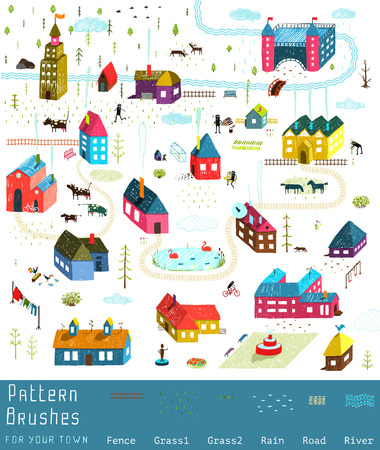 town: Small Town or City Houses Buildings Landscape Big Collection of Elements for Design. Colorful hand drawn sketchy pencil feel illustration. Countryside landscape constructor. Brushes groups included.